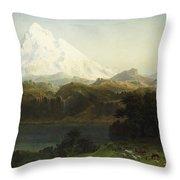 Mount Hood In Oregon Throw Pillow by Albert Bierstadt