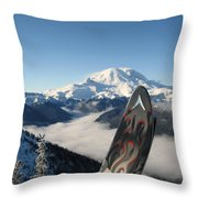 Mount Rainier Has Skis Throw Pillow by Kym Backland