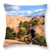 Mountain Biking Moab Slickrock Trail - Utah Throw Pillow by Gary Whitton