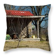 Mountain Cabin In Tennessee 1 Throw Pillow by Douglas Barnett