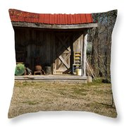 Mountain Cabin In Tennessee 3 Throw Pillow by Douglas Barnett