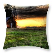 Mountain Sun behind Barn Throw Pillow by Derek Haller