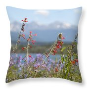 Mountain Wildflowers Throw Pillow by Juli Scalzi
