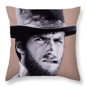 Mr. Eastwood Throw Pillow by Ellen Patton