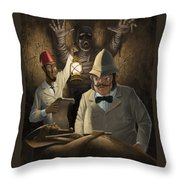 Mummy Awake Throw Pillow by Martin Davey