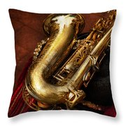 Music - Brass - Saxophone  Throw Pillow by Mike Savad