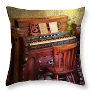 Music - Organist - Playing The Songs Of The Gospel  Throw Pillow by Mike Savad