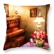 Music - Piano - The Music Room Throw Pillow by Mike Savad