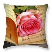 Musical Rose Throw Pillow by Inspired Nature Photography By Shelley Myke