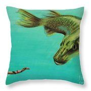 Muskie And The Lure Throw Pillow by Jeanne Fischer