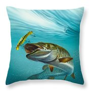 Muskie Troll Throw Pillow by Jon Q Wright