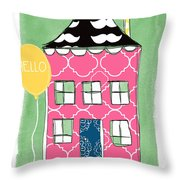 Mustache House Throw Pillow by Linda Woods