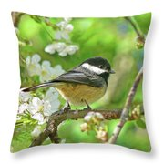 My Little Chickadee In The Cherry Tree Throw Pillow by Jennie Marie Schell