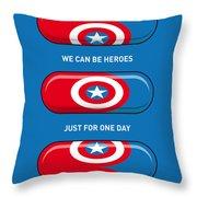 My Superhero Pills - Captain America Throw Pillow by Chungkong Art