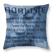 Namaste Blue Throw Pillow by Dan Sproul