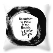 Namaste Enso Throw Pillow by Linda Woods