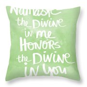 Namaste Green And White Throw Pillow by Linda Woods