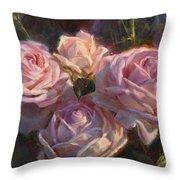 Nana's Roses Throw Pillow by Karen Whitworth