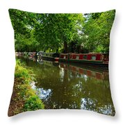 Narrowboats Moored On The Wey Navigation In Surrey Throw Pillow by Louise Heusinkveld