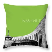Nashville Skyline Country Music Hall Of Fame - Olive Throw Pillow by DB Artist