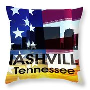Nashville Tn Patriotic Large Cityscape Throw Pillow by Angelina Vick