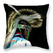 Native American Boy Throw Pillow by Kathleen Struckle