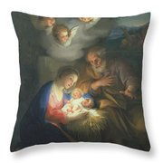 Nativity Scene Throw Pillow by Anton Raphael Mengs