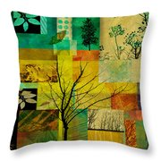 Nature Patchwork Throw Pillow by Ann Powell
