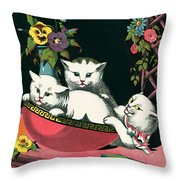 Naughty Cats Play In Antique Pink Bowl With Book And Sweet Williams Flowers Throw Pillow by Pierpont Bay Archives