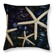 Nautical Sea Stars Throw Pillow by Paul Ward
