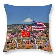 Navajo Veteran's Memorial Cemetery Tsehootsooi Throw Pillow by Christine Till