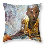 Nba Lakers Kobe Black Mamba Throw Pillow by Ylli Haruni