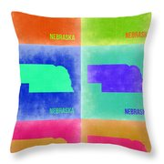 Nebraska Pop Art Map 2 Throw Pillow by Naxart Studio