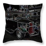 Neon Car Show Throw Pillow by Steve McKinzie