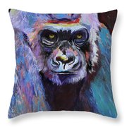 Never Date A Gorilla With A Nice Smile Throw Pillow by Pat Saunders-White
