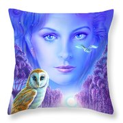 New Age Owl Girl Throw Pillow by Andrew Farley