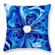 New Blue Glory Flower Art - Buy Prints Throw Pillow by Sharon Cummings