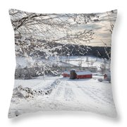 New England Winter Farms Square Throw Pillow by Bill  Wakeley