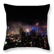 New Year Fireworks IIi Throw Pillow by Ray Warren