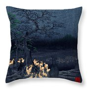 New Years Eve Foxfires At The Changing Tree Throw Pillow by Georgia Fowler