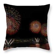 New York City Celebrates The Fourth Throw Pillow by Susan Candelario