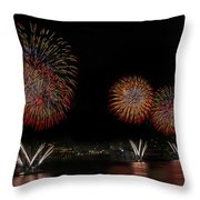 New York City Celebrates The Fourth Throw Pillow by Susan Candelario