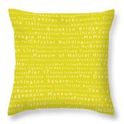 New York City In Words Yellow Throw Pillow by Sabine Jacobs