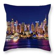 New York City Nyc Midtown Manhattan At Night Throw Pillow by Jon Holiday