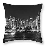 New York City NYC Skyline Midtown Manhattan at Night Black and White Throw Pillow by Jon Holiday