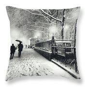 New York City - Winter - Snow At Night Throw Pillow by Vivienne Gucwa