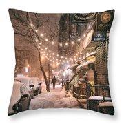 New York City - Winter Snow Scene - East Village Throw Pillow by Vivienne Gucwa