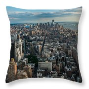 New York From A Birds Eyes - Fisheye Throw Pillow by Hannes Cmarits