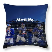 New York Giants Metlife Stadium Throw Pillow by Joe Hamilton