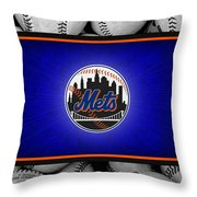 New York Mets Throw Pillow by Joe Hamilton